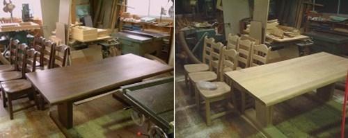 ダイニングテーブルとチェアの塗り替え