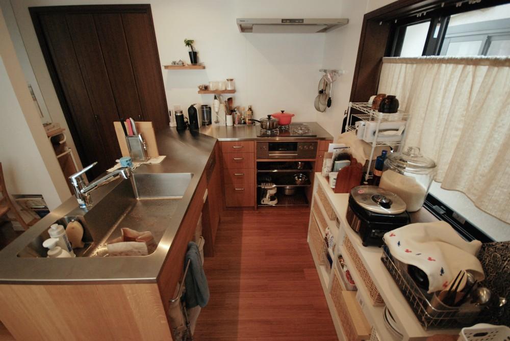 ナラ材のL型オーダーキッチン