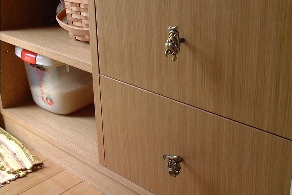 オークの家電収納と食器棚
