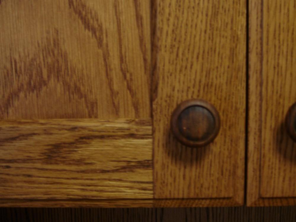 オークのアンティーク調のデスク一体型本棚
