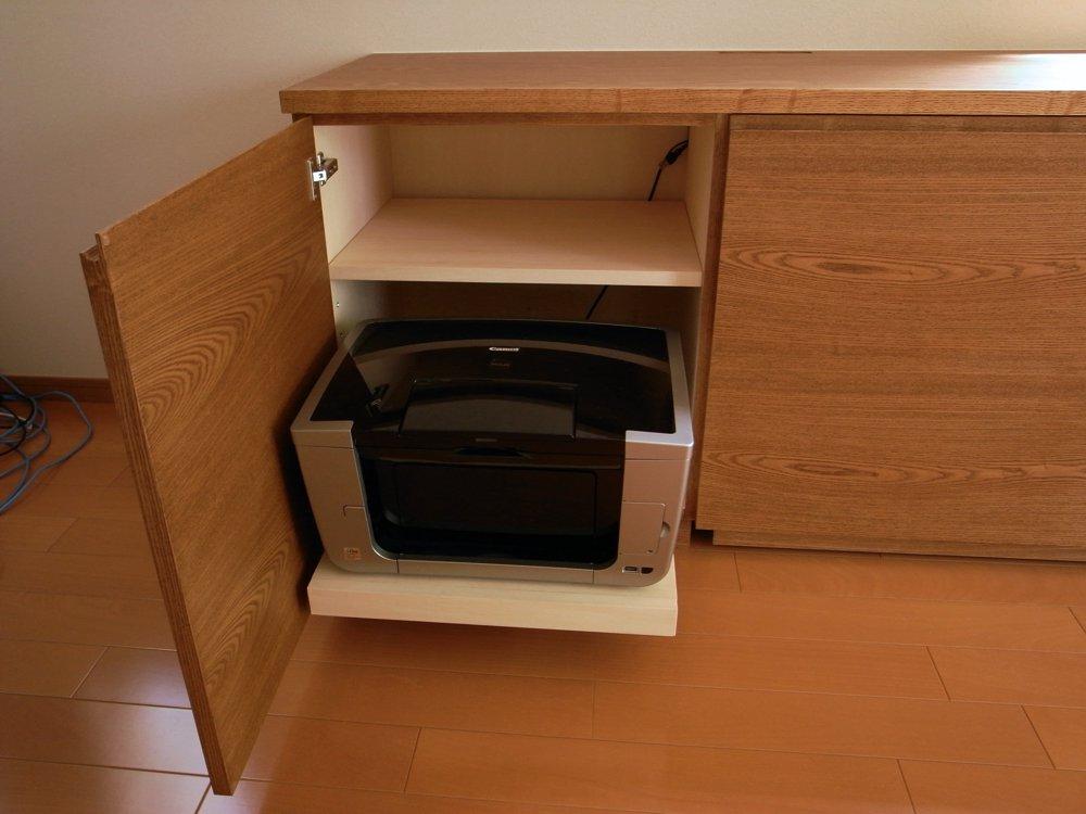 プリンター収納部のスライドテーブル