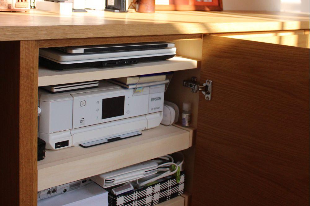 オークの対面カウンター収納とL型デスク