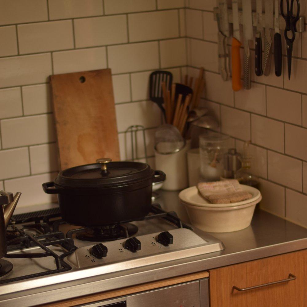 ナラのステンレスのセパレートキッチン