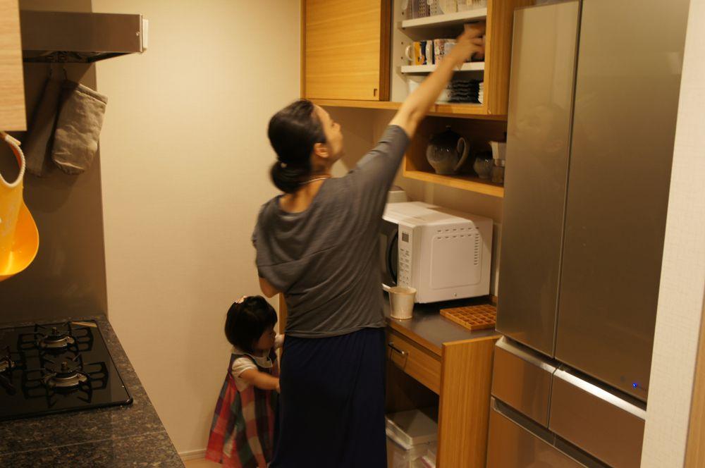タモ柾目とステンレスの引き戸のある食器棚