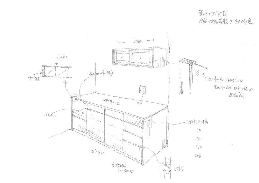 ステンレストップの食器棚とステンドグラスのある吊戸棚