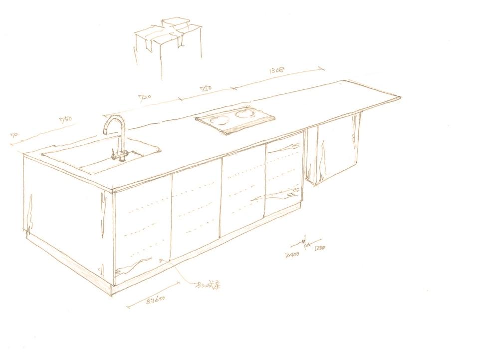 ステンレスうろこ仕上げを用いたアイランドキッチン