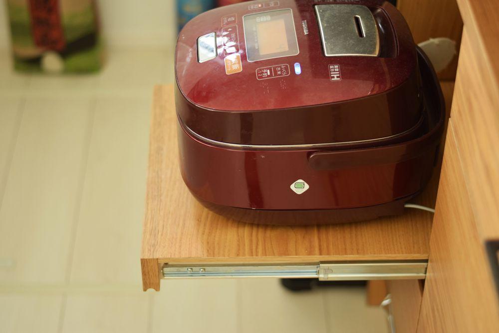 炊飯器収納スライドテーブル
